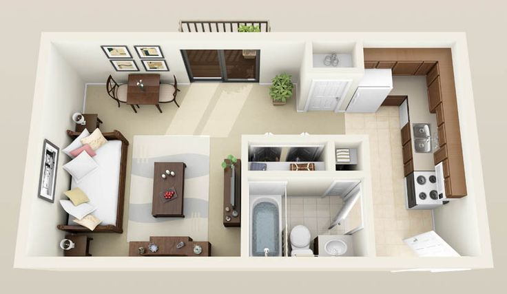 Garage Conversion With Loft And Stairs 3d Image Spaces Garage Garage Apartment Interior Studio Apartment Floor Plans Studio Floor Plans