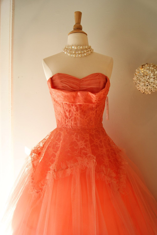 Reserved 50s Dress 1950s Prom Dress Vintage 1950s Coral Etsy Prom Dresses Vintage 50s Dresses 1950s Prom Dress [ 1500 x 1003 Pixel ]