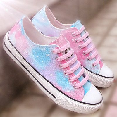 Harajuku starry sky hand painted canvas shoes #outfits4school