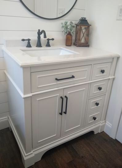 Home Decorators Collection Melpark 36 In W X 22 In D Bath Vanity In Dove Grey With Cultured Marble Vanity Top In White With White Sink Melpark 36g The Home White vanity with gray top