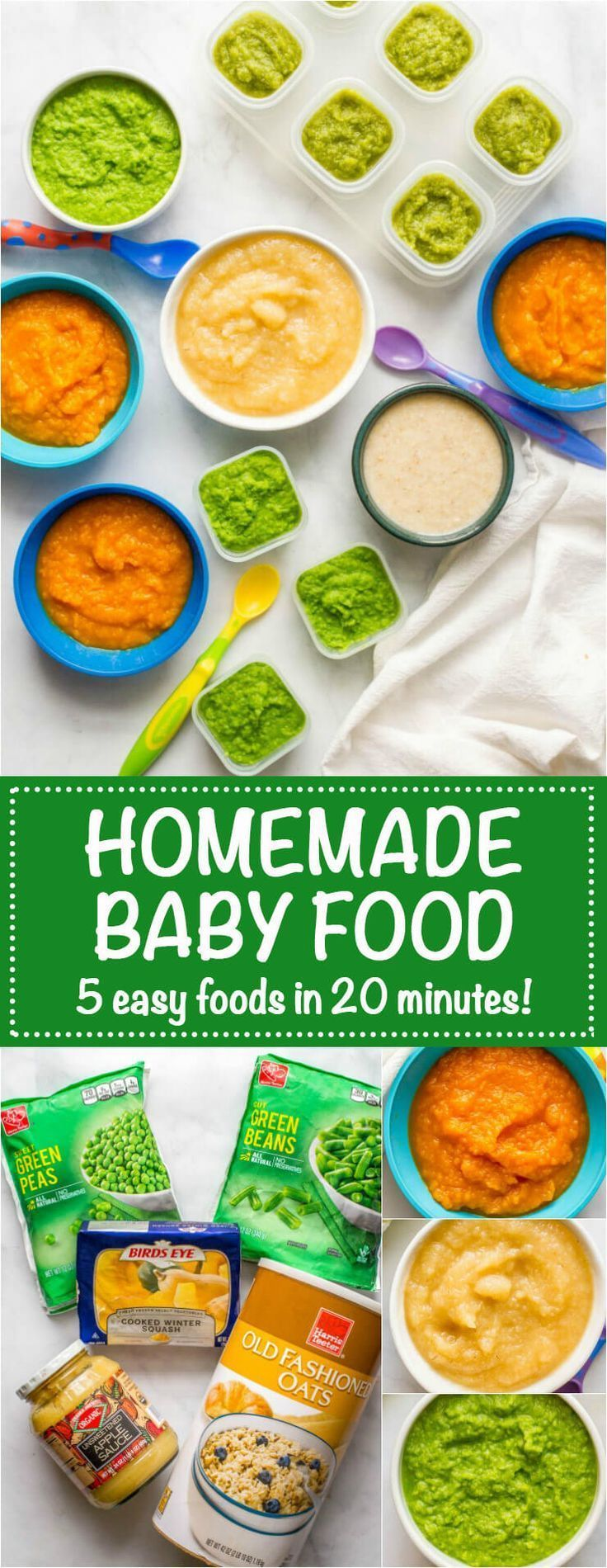 Homemade baby food: Peas, green beans, applesauce, butternut squash and oatmeal,  Homemade baby food: Peas, green beans, applesauce, butternut squash and oatmeal,