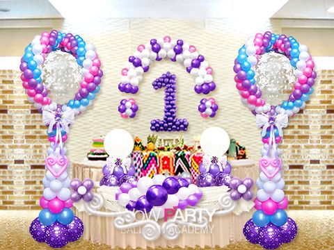 1st birthday balloon art Number balloons Pinterest Birthdays