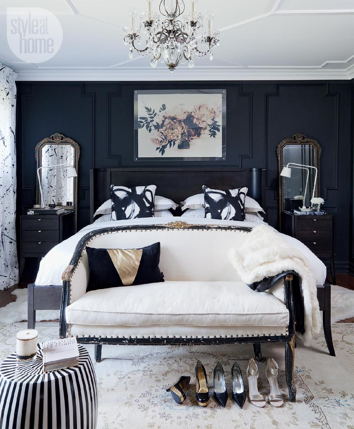 Bedroom decor moody and dramatic master suite feminine for Dramatic beds