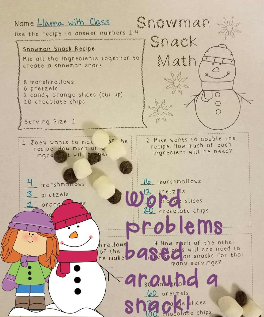 A great winter math activity  Engage students in math problems with