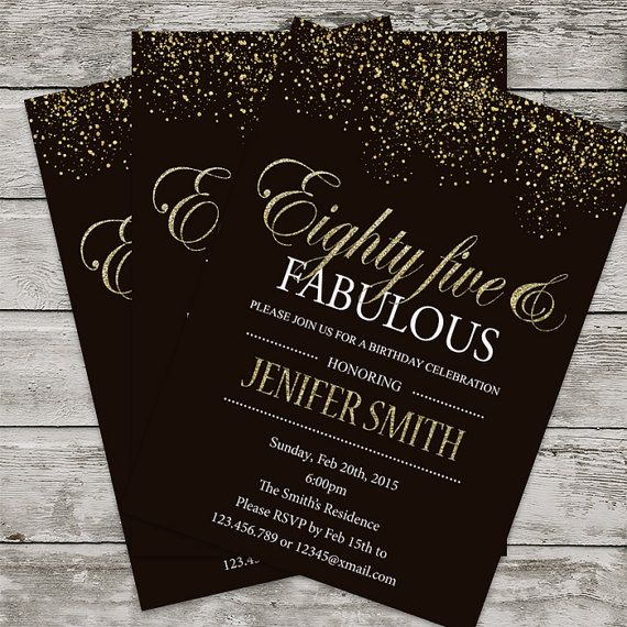 85th Birthday Invitation For Women PRINTABLE Eighty Five Invite Silver Glitter Invit
