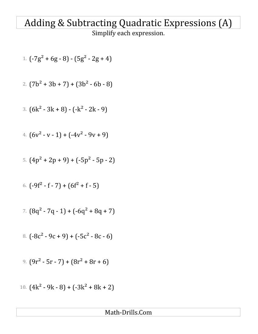 Adding And Subtracting And Simplifying Quadratic Expressions A Algebra Worksheet Simplifying Rational Expressions Quadratics Rational Expressions Addition of polynomials worksheet free