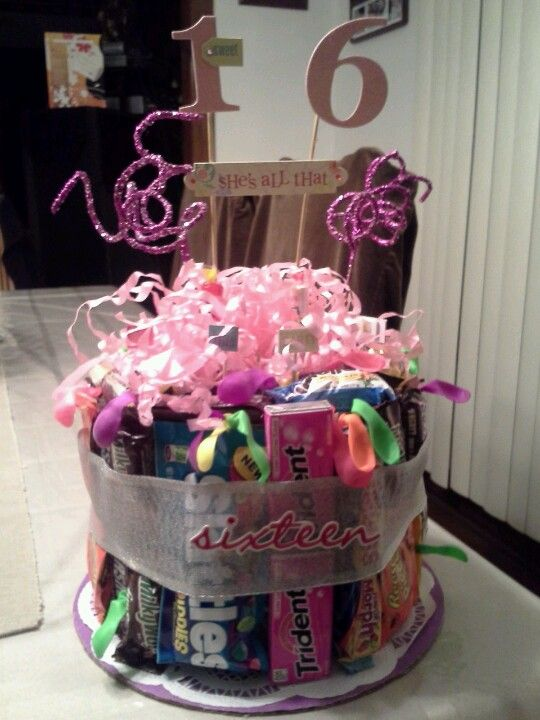 Sweet 16 cake filled with the birthday girls favorite's
