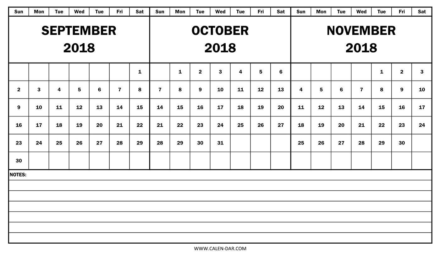 Calendar September October 2018 Printable Template Free Download