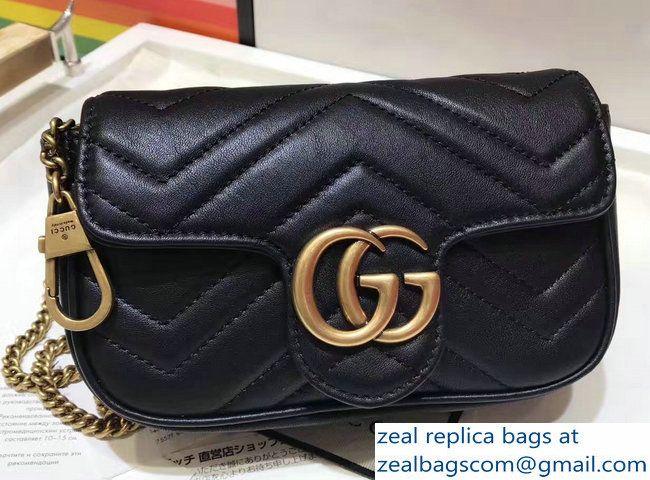 6ee76f26601 Gucci GG Marmont Matelasse Chevron Super Mini Chain Shoulder Bag 476433  Black 2017