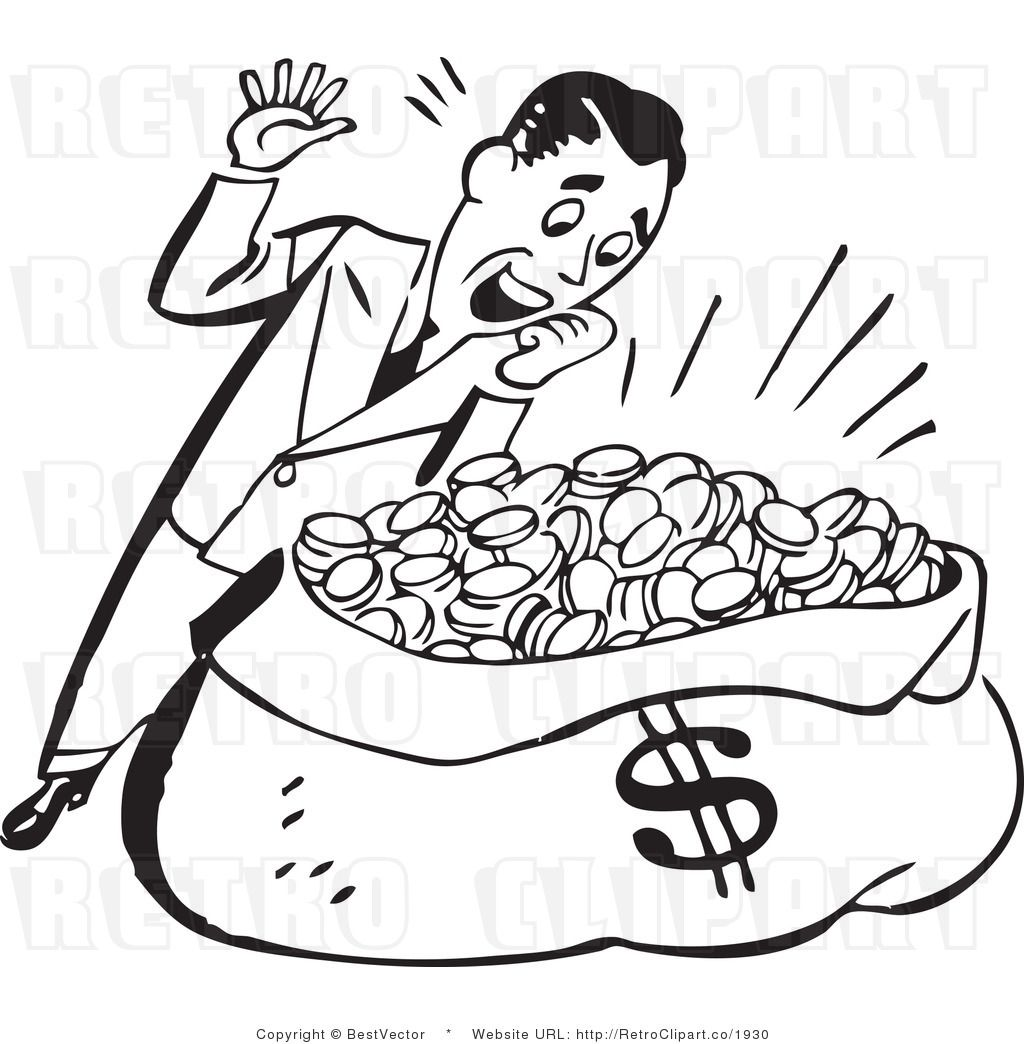 Happy Retro Man Hovering Over Huge Sack Of Coins And Money
