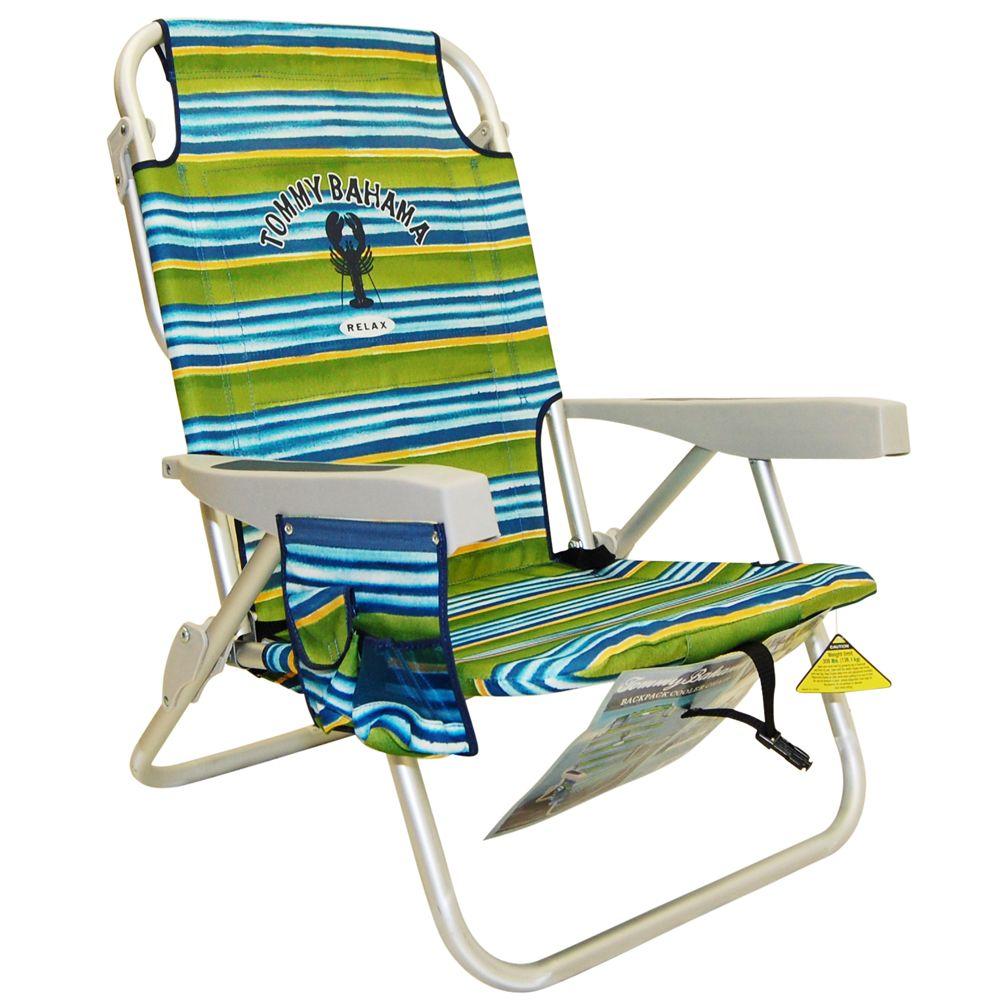Tommy Bahama Backpack Beach Chair Green Stripe