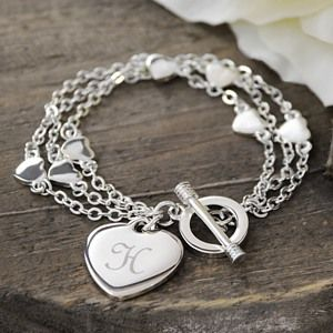 Personalized Triple Strand Heart Bracelet, bridesmaid jewelry, gifts bridesmaids, heart bracelet