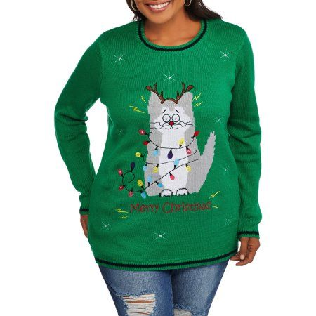 76af5153424 Plus Size Holiday Time Women s Plus Christmas Sweater with Lights - light  UP Kitty