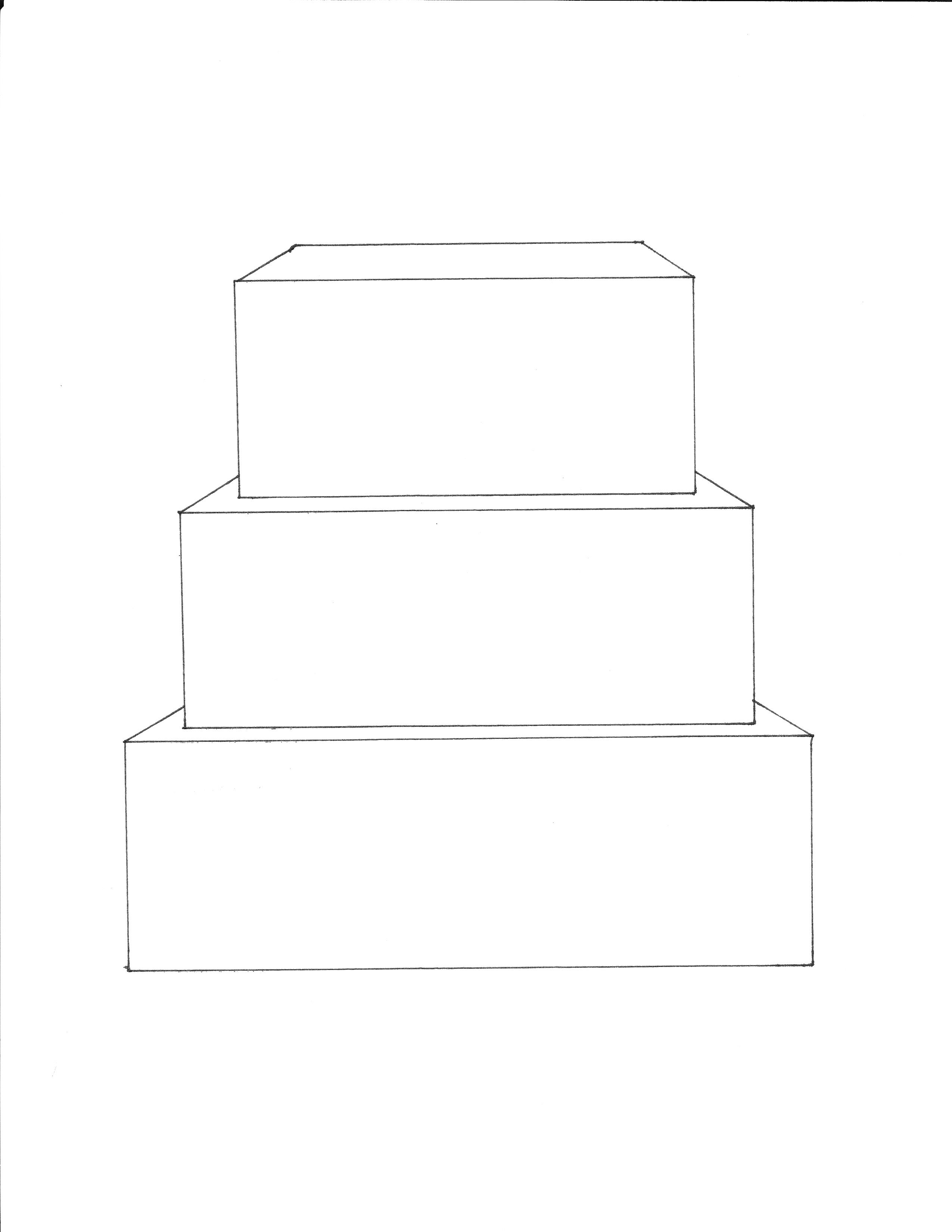 3 Tier Square Cake Template Free Downloadable Cake