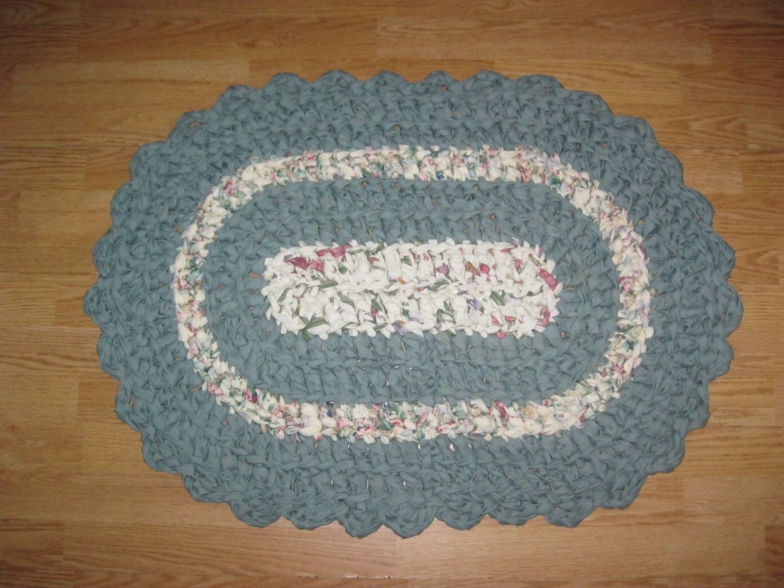 Woven Rag And Braided Rugs 160665 Fabric Rag Rug Oval 2 Floral Prints Misty Grn Solid Hand Crochet Wachine Wash 2 Buy It Rag Rug Hand Crochet Floral Prints