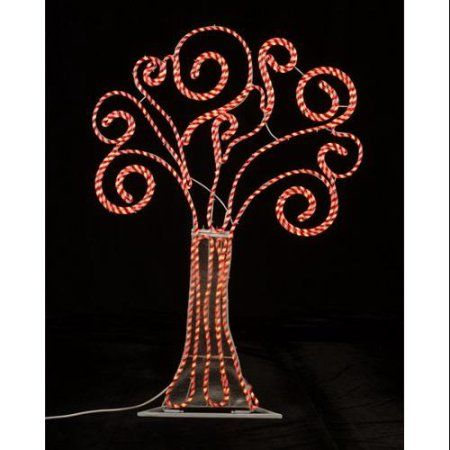 4\' Pre-Lit Peppermint Twist Swirl Rope Light Outdoor Yard Art ...