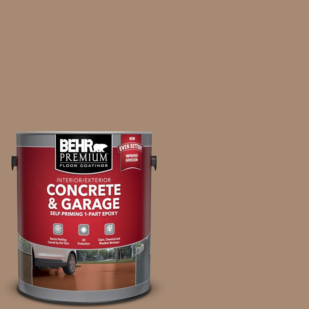 Behr Premium 1 Gal N240 5 Rodeo Tan Self Priming 1 Part Epoxy Satin Interior Exterior Concrete And Garage Floor Paint 93001 Garage Floor Paint Painted Floors Painting Basement Floors