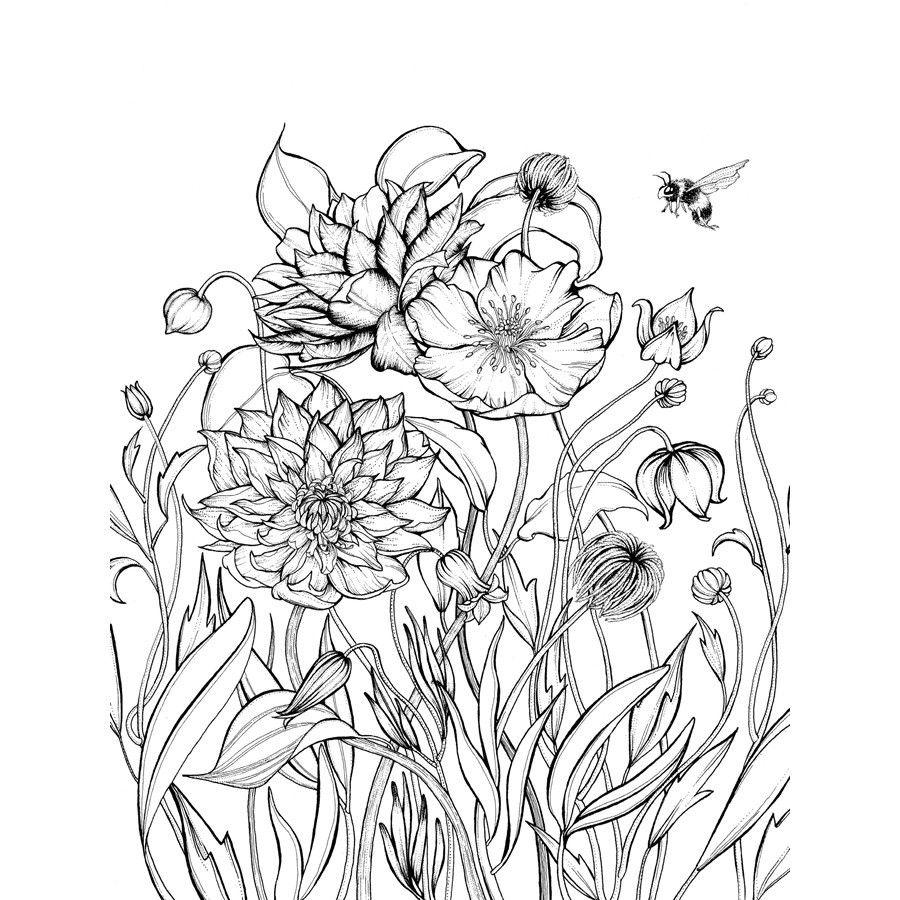 kleurplaat volwassenen realistische bloemen