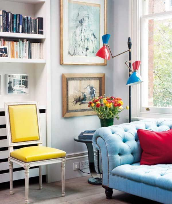 Bright Living Room With Yellow And Blue Sofas Decor Bright Living Room Blue Sofa Decor Apartment Decor
