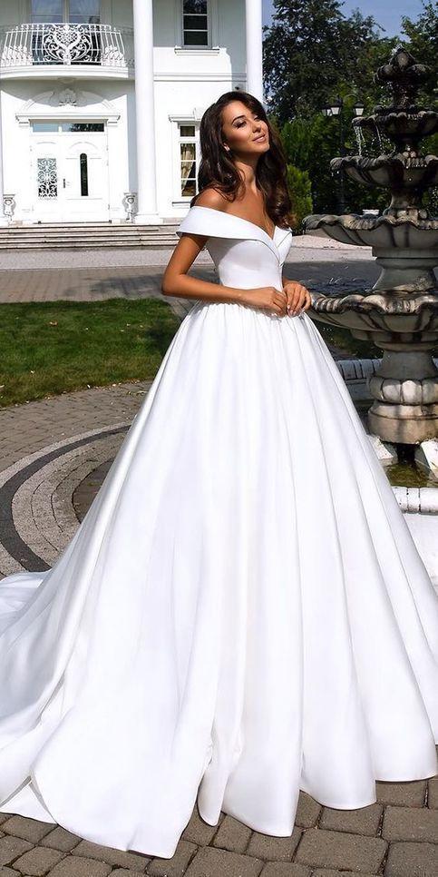 Fashion Forward Wedding Dresses Ball Gown Off The Shoulder Wedding Dress Simple Satin Bridal Dress Ball Gown Wedding Dress Off Shoulder Wedding Dress Ball Gowns Wedding