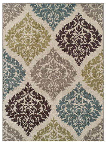 Use An Area Rug To Add A Pop Of Color Kelsey Smith Damask Rug Contemporary Rugs Ivory Rug