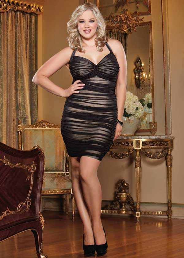 9e9f6132caa Sexy plus size dress with flattering shirring over nude lining. Hot ...