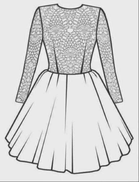 Moldes Para Dibujar Vestidos Molde De Dibujo De Vestido De