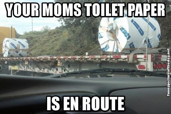 Your Moms Toilet Paper Is En Route Funny Your Momma So Fat Joke- I ...