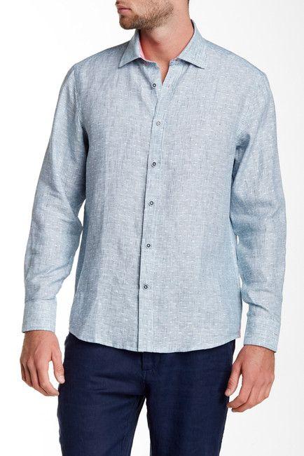 Long Sleeve Tinted Stripe Linen Modern Fit Sport Shirt