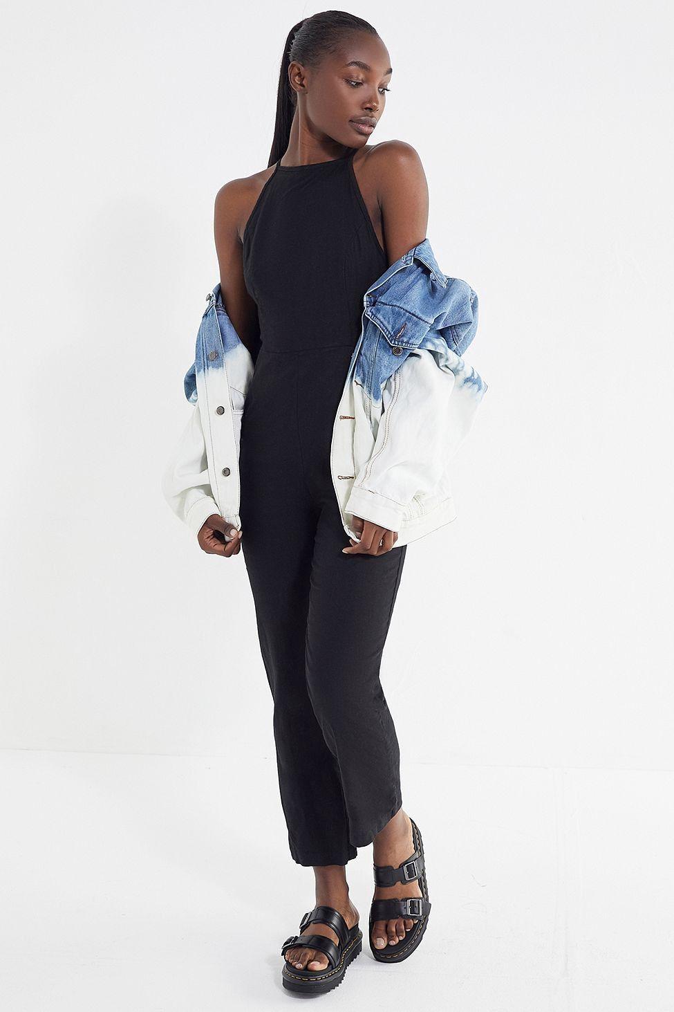 77e775ecf85 Urban Outfitters Uo Hattie High-Neck Linen Jumpsuit - Black + White 10 Navy