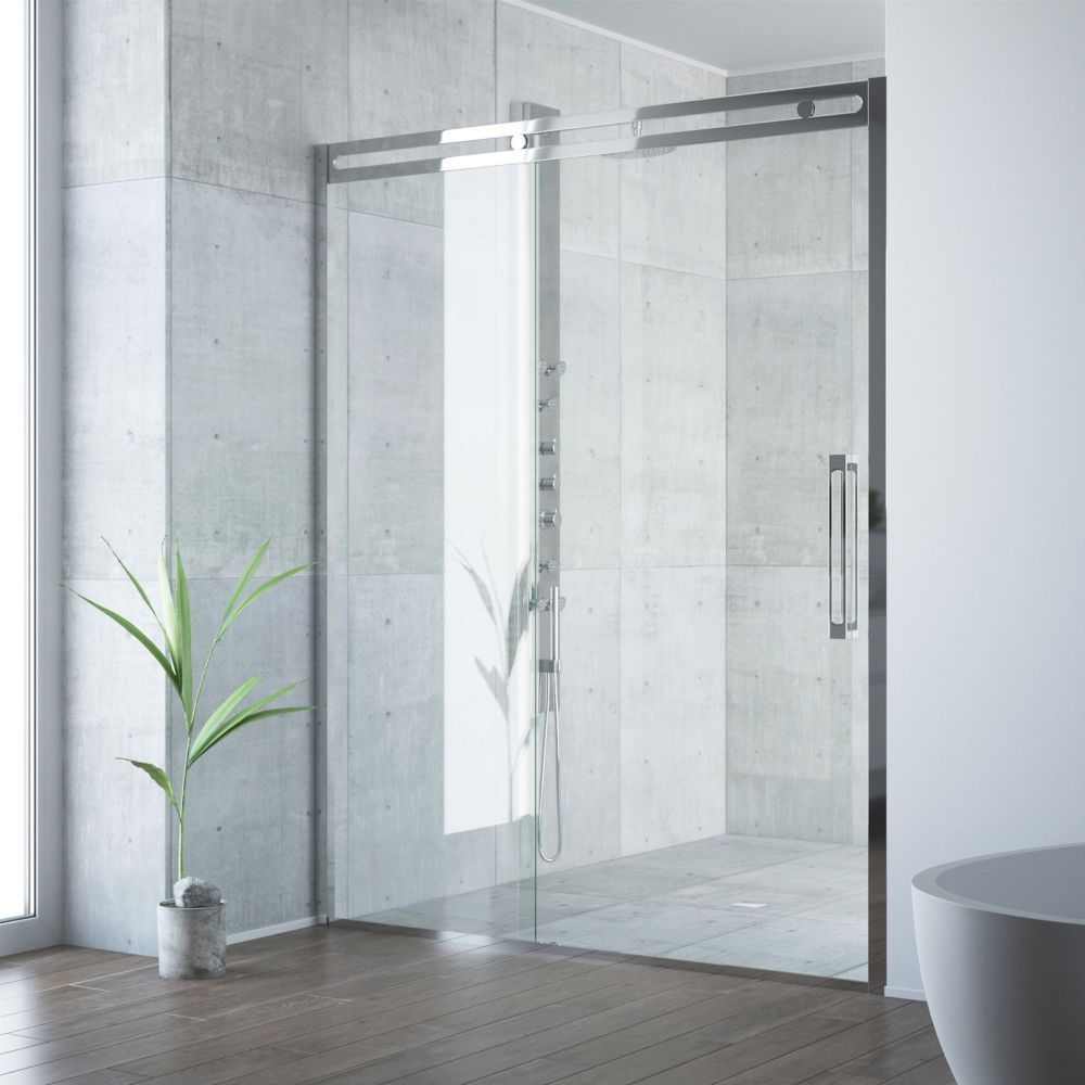 Erie 59 1 2 To 60 1 2 Inch X 73 5 Inch Framed Sliding Shower Door In Chrome With Clear Glass And Handle Shower Doors Framed Shower Door Frameless Sliding Shower Doors