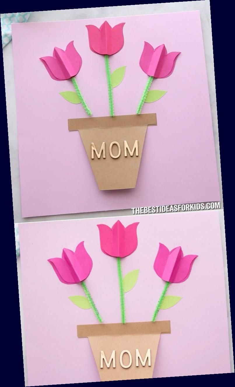 Diy Rolled Paper Roses Valentines Day Or Mother S Day Card Mothers Day Crafts For Kids Valentine Crafts For Kids Tulips Card