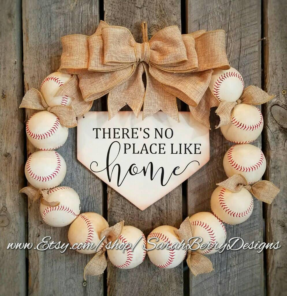Baseball Wreath With Burlap Bow Softball Coach S Gifts Baseball