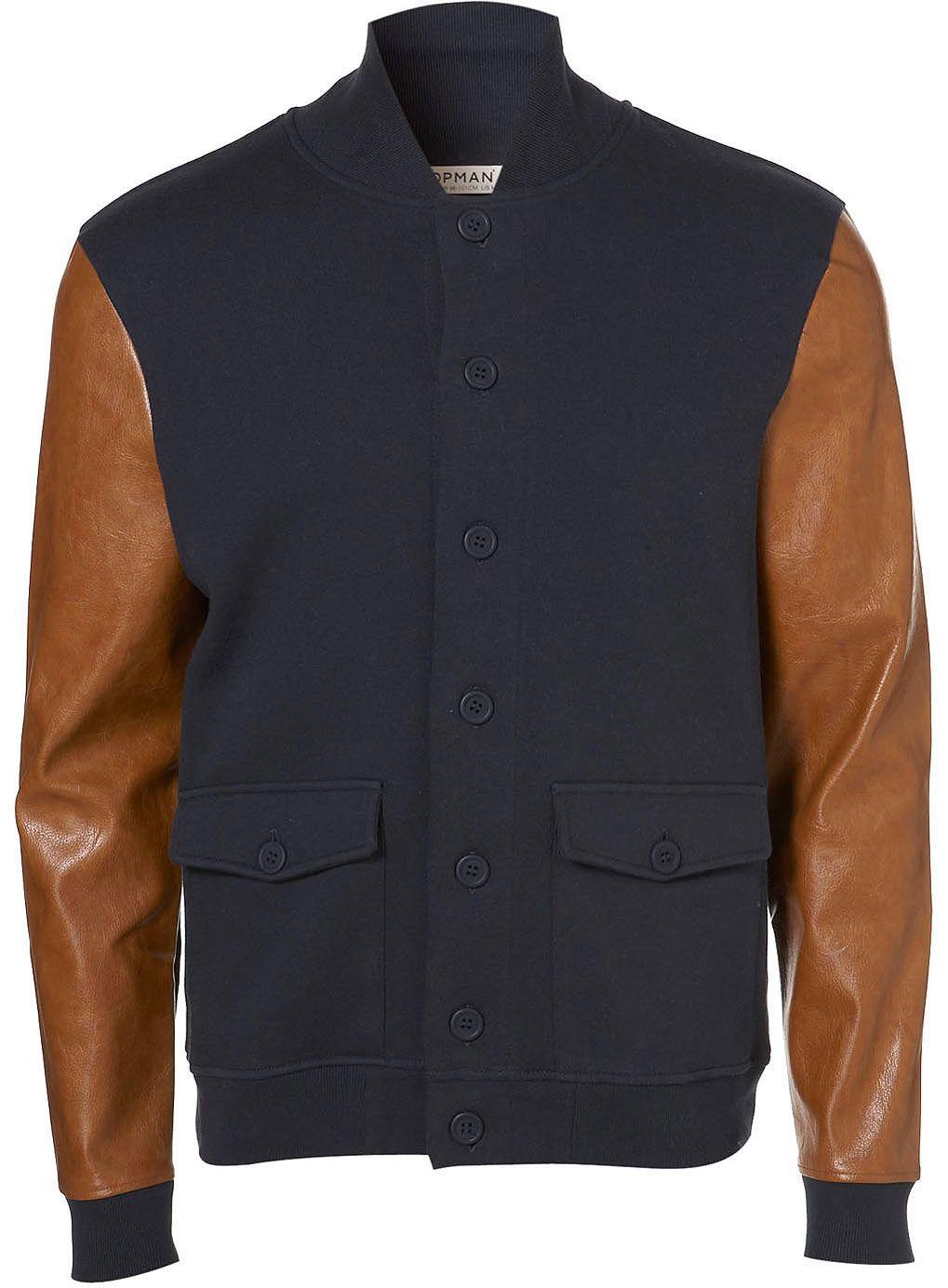 Topman - Navy Jersey Baseball Jacket | Mens Clothing | Pinterest