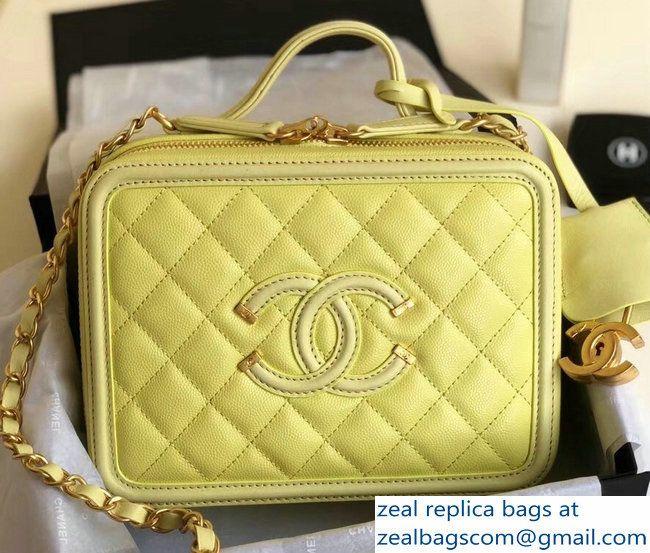 e1a940d026f1 Chanel CC Filigree Grained Vanity Case Bag A93343 Yellow 2018 ...