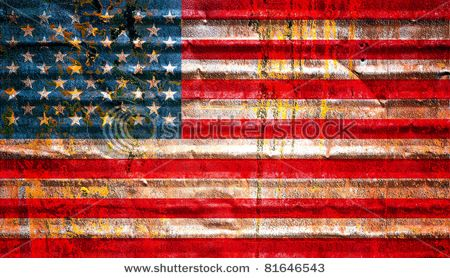 flag painted on corrugated metal and rusting