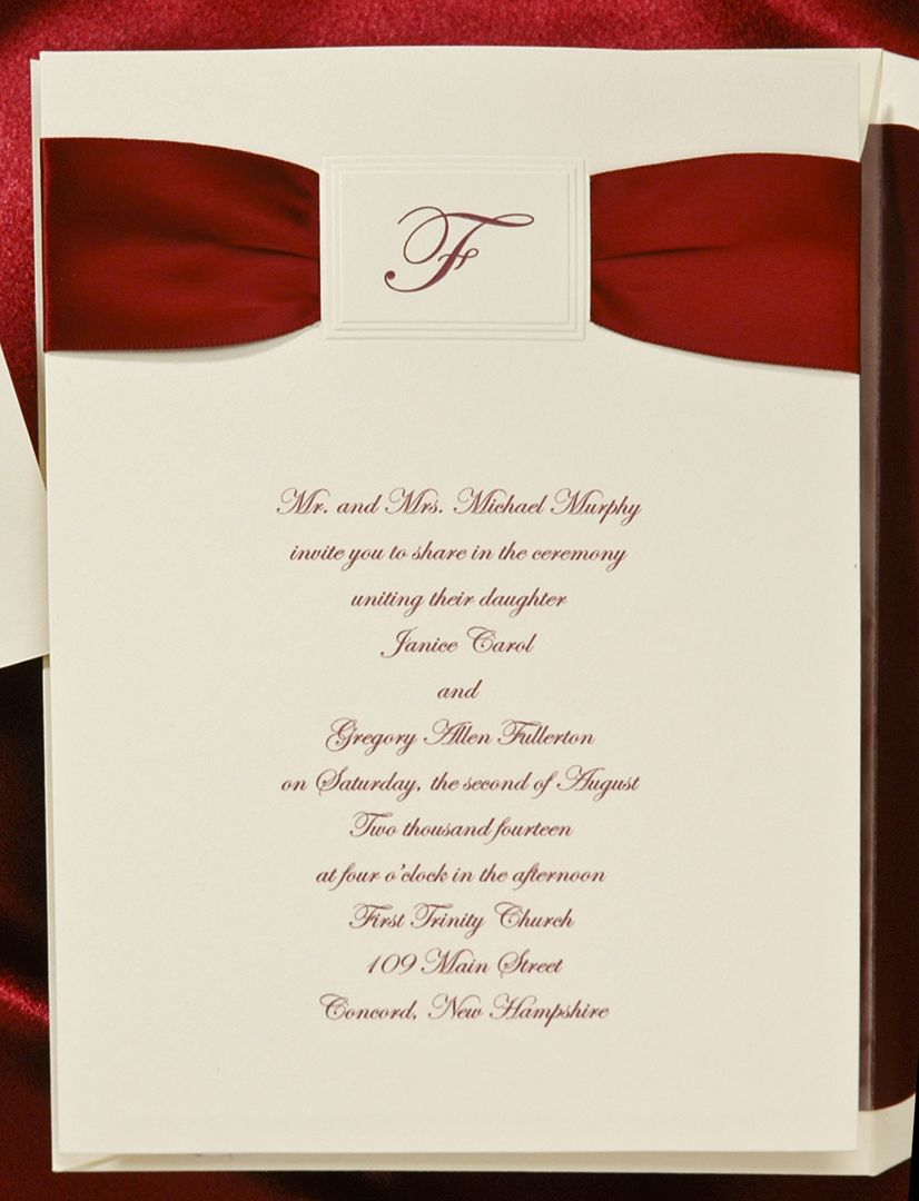 Burgundy satin ribbon is included with this ecru invitation! A ...