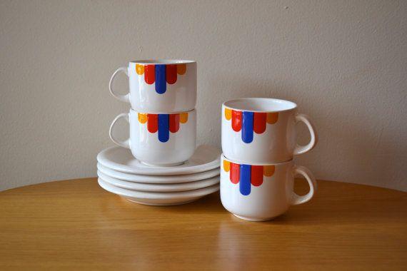 Vintage Mod Style Waechtersbach Pottery Cups and Saucers Set
