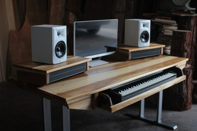 Midsize Modern Wood Recording Studio Desk for Composer