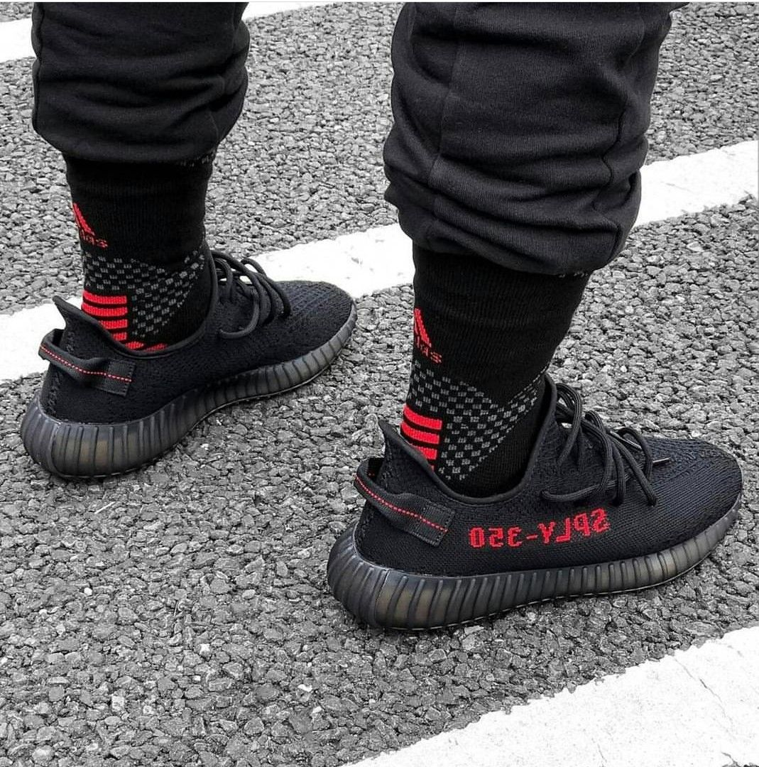 b132dabd2ab Yeezy bred v2 with long socks