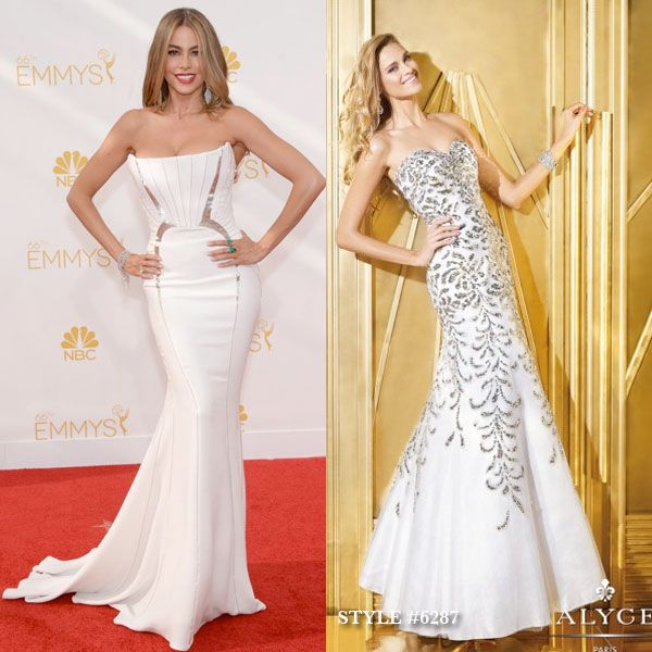 Sofia Vergara looked stunning in a body hugging white mermaid gown on the Emmy red carpet! You can get a similar look with ALYCE Paris style #6287.