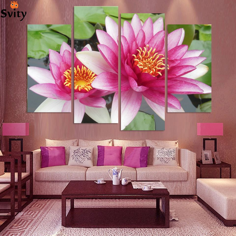 4 panel wall art pictures botanical red feng shui pink