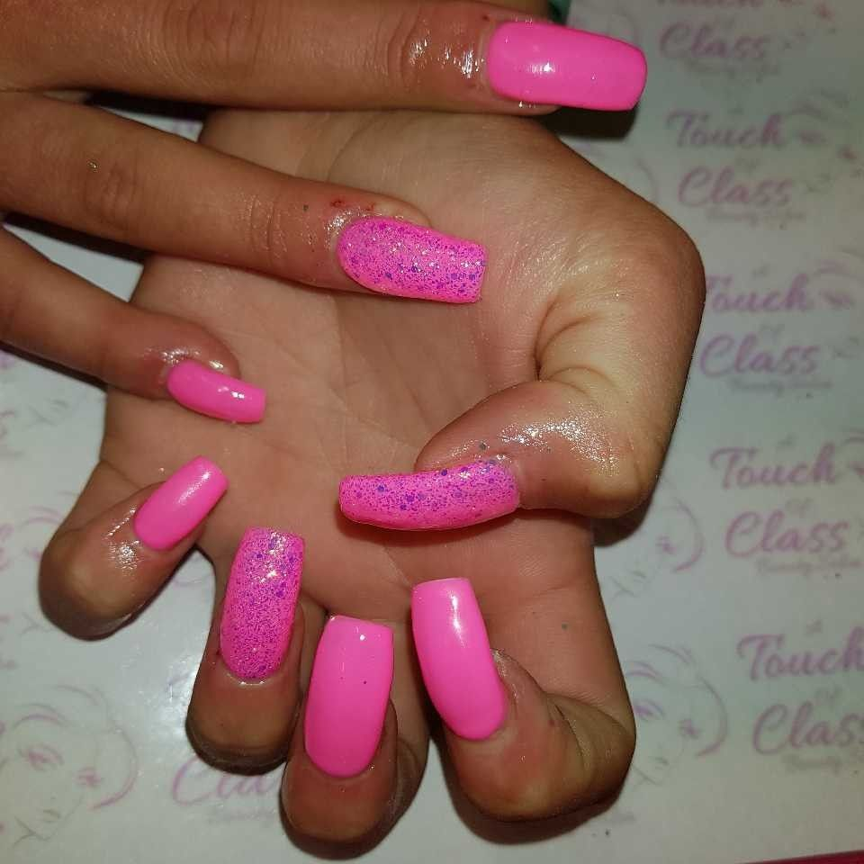 Bright Pink Acrylic Nails Using Gel Ok Polish And Magpie Glitter