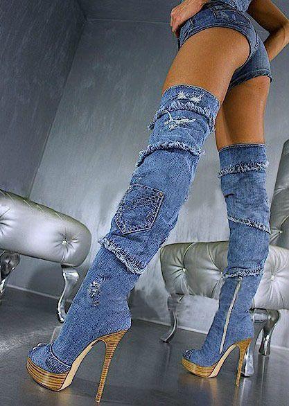cc998d3c6b Denim High Heel Boots with Jeans | ... Boots Thigh High Boots Denim ...