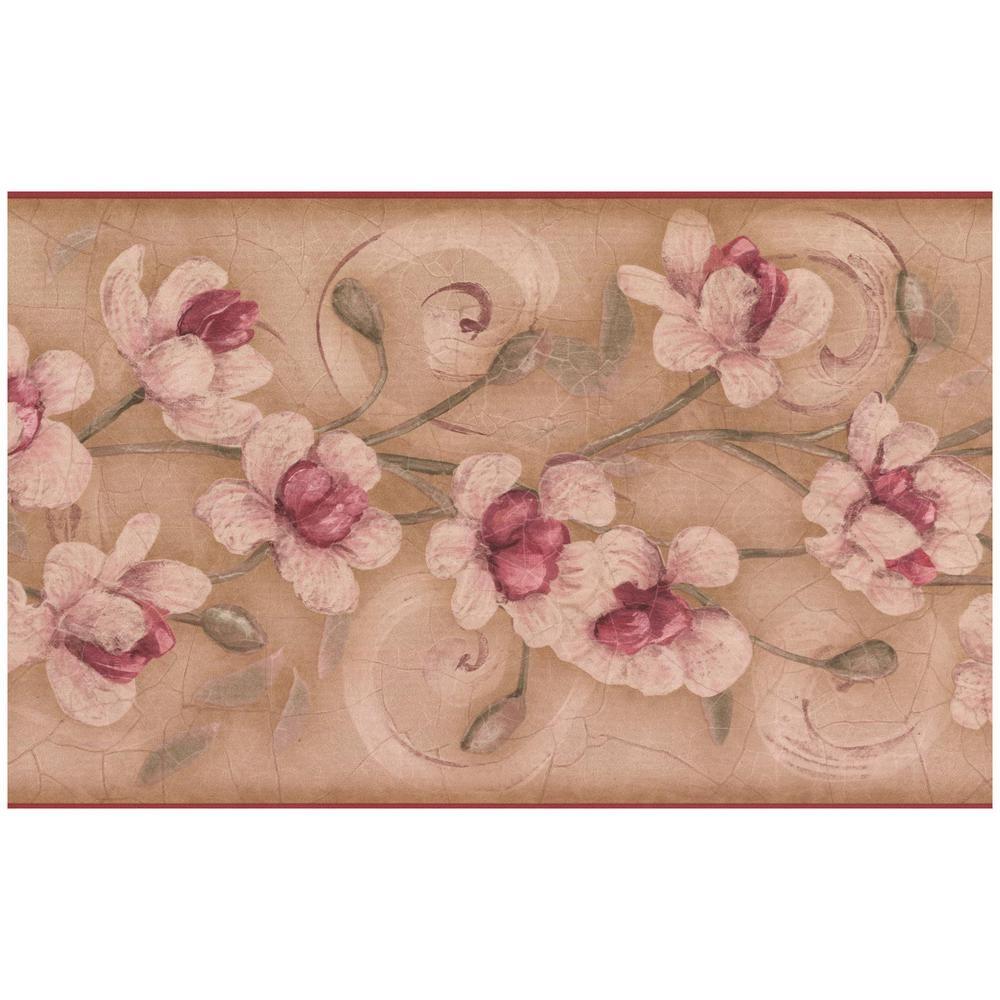 York Wallcoverings Pink Flowers On Vine Beige Brown Prepasted Wallpaper Border Multi Prepasted Wallpaper Wallpaper Border Retro Wallpaper