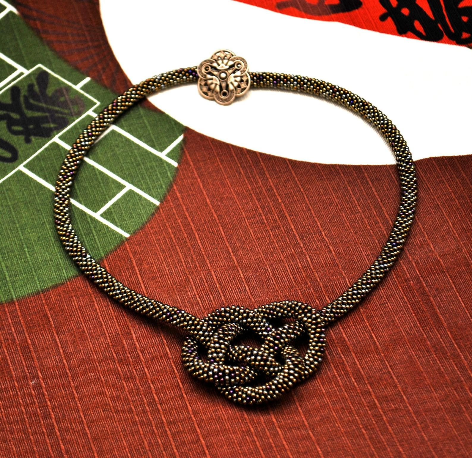 Vintage Inspired Brown Beaded Crochet Rope Knot Necklace / Two in One / Metallic Effect / with Brass Art Deco Button Clasp FREE SHIPPING #ropeknots