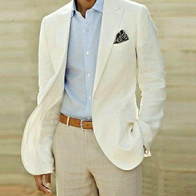 Trajes de lino hombres de marfil boda se adapte informal con muesca solapa  de los novios esmoquin dos hombres trajes pieza un botón slim fit padrinos  de ... 19f1e454ad5