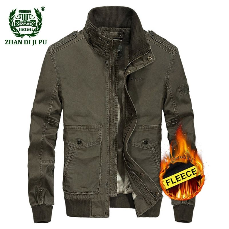ca47dafffa38 2018 Men s winter military quality casual brand 100% pure cotton khaki  jacket man afs jeep army green fleece thick jackets coats Review