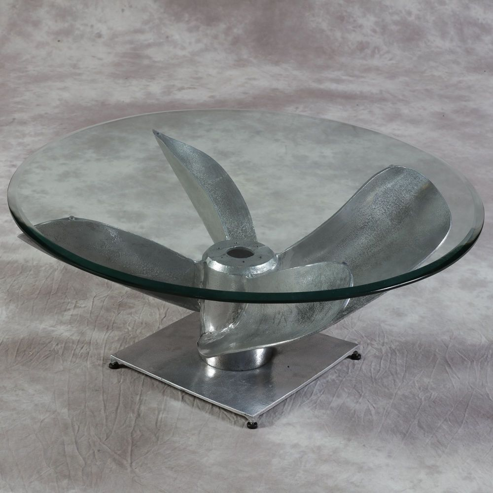 Large Antiqued Aluminium Boat Propeller Coffee Table Round Glass Top 90cm Dia Coffee Table Round Coffee Table Round Glass Coffee Table [ 1000 x 1000 Pixel ]