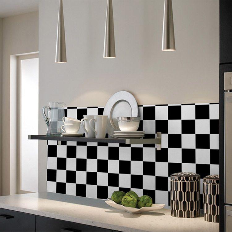 Papier peint à lu0027huile Fond du0027écran mosaïque noir et blanc stickers - salle de bain carrelee